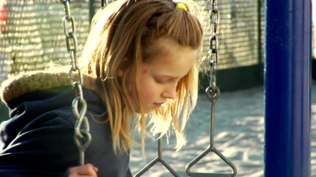 Sad young girl on swings video