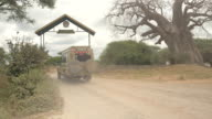 CLOSE UP: Safari jeeps with of travelers entering Tarangire National Park video