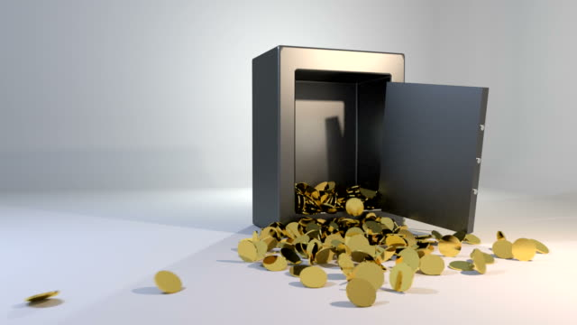 Safe vault fall spill gold coins falling spilling valuable win land landing video