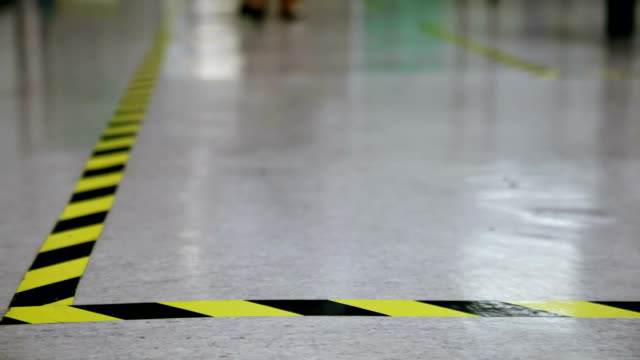 Safety line on marble floor video