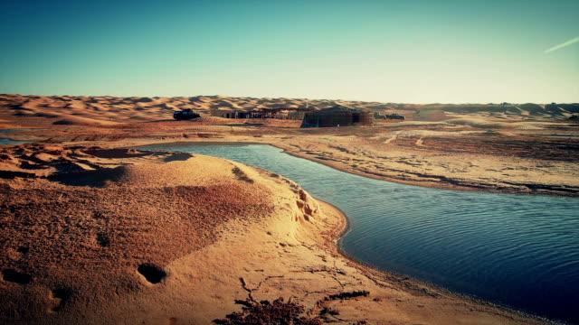 Sahara desert landscape. Ain Ouadette oasis. video