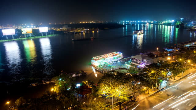 Saigon River at Night, Vietnam- Timelapse video