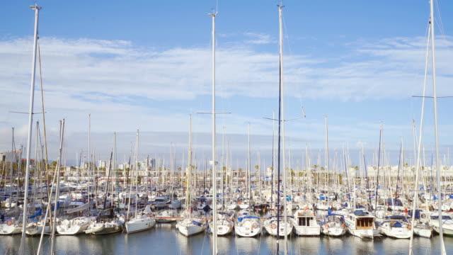 Sail boat harbor in Barcelona. video