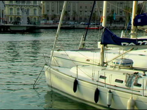 Sail boat in Barcelona Spain marina video