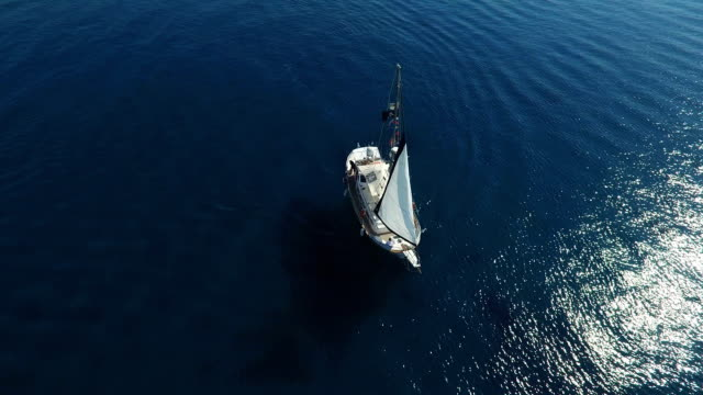 Sail Boat Set Sail In Open Sea video