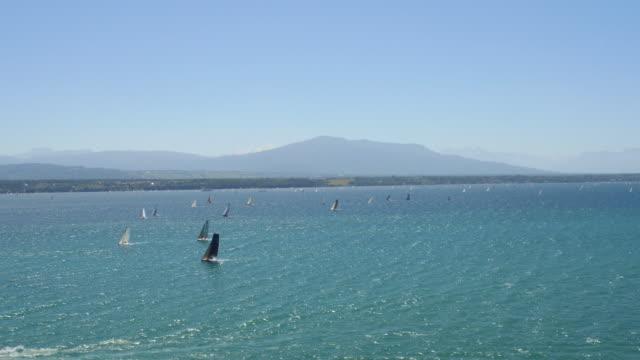 Sail boats on the Lake Geneva video