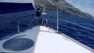 HD: Sailboat Approaching Coast video