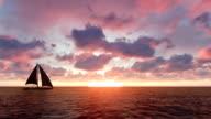 Sailboat at sunset video