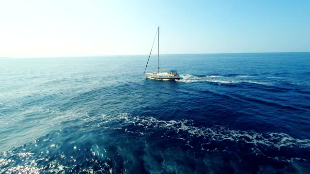AERIAL Sailboat In The Adriatic Sea video