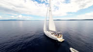 AERIAL Sailboat In The Adriatic Sea video