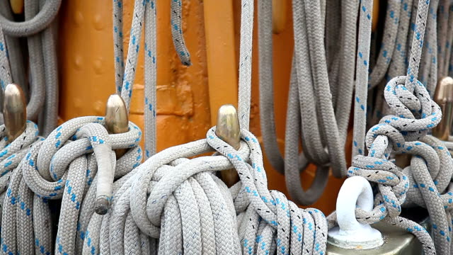 Sailboat. Masts and rigging video