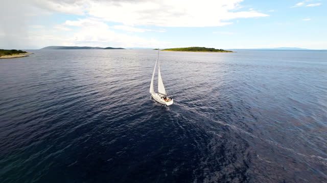 AERIAL Sailboat Sailing Near The Island video
