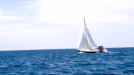 LS Sailboat Sailing On The Open Sea video