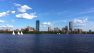 Sailboats on the Charles River in Boston video