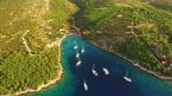 AERIAL Sailboats on the island in Croatia video