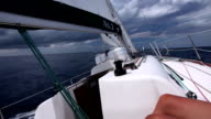 Sailing at storm, boat point of view video