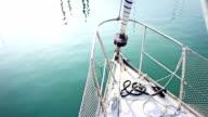 Sailing boat bow at harbor video