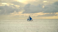 Sailing boat in blue sea. Boracay island Philippines video