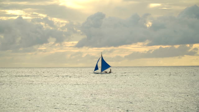 Sailing boat in blue sea. Boracay island Philippines video