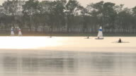 Sailing boat in lake in the evening video
