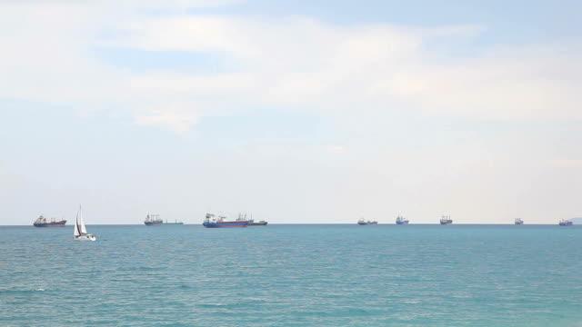 Sailing boat on sea video