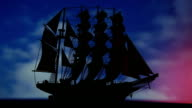 Sailing ship at night video