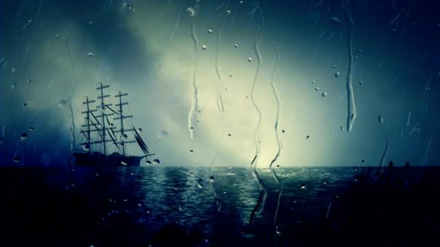 Sailing Ship Docking Close To Shoreline Under Rain video