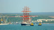 sailing ship in the bay video