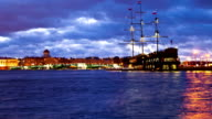 Sailing Ship moon night. St. Petersburg. Russia video