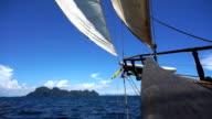 Sailing towards Emerald Cave (Tam Morakot), Ko Mook, Andaman Sea, Trang, Thailand. video