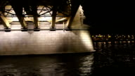 Sailing under the bridge across the Danube. Budapest. Hungary. video
