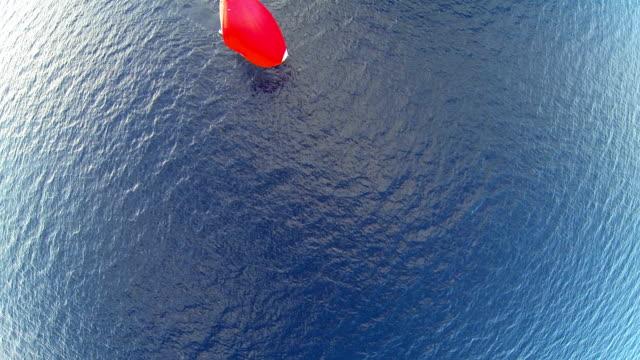 Sailing with sailoboat at sunset video