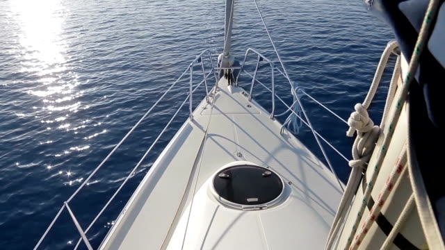 Sailing yacht in the open ocean. video