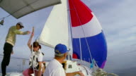 Sailors on deck, team, crew, yachting, sailing, active rest video