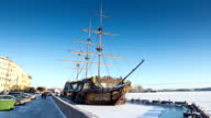 Sailship in the ice. St. Petersburg. Russia. timelapse video