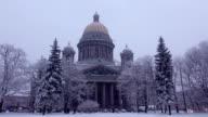 Saint Isaac Cathedral. snowy trees around, winter season, dim lighting video
