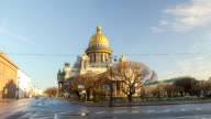 Saint Isaac's Cathedral and Monument to Alexander II  motion timelapse video