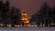Saint Isaac's Cathedral at winter night, bright illumination video