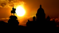 Saint Isaac`s Cathedral in St.Petersburg and golden sunset video