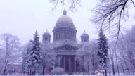 Saint Isaac's Cathedral in winter, dim rendering of stately structure video