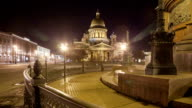 Saint Isaac's Cathedral Monument to Alexander II night motion timelapse video