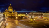Saint Isaac's Cathedral place night timelapse view from the roof video