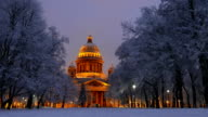 Saint Isaac's Cathedral seen between trees under snow, winter time, night shot video