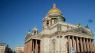 Saint Isaac's Cathedral sunny day motion timelapse video