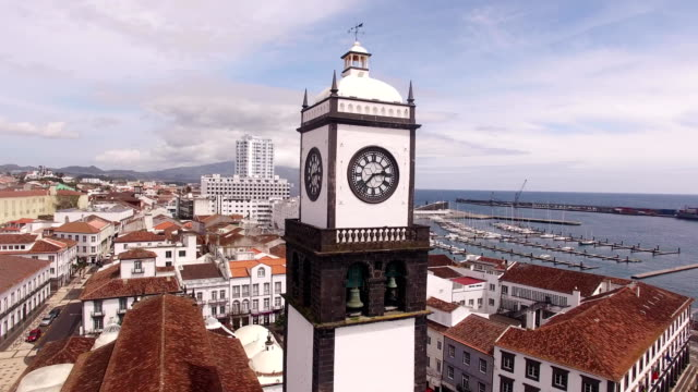 Saint Sabastian church with clock tower in Ponta Delgada on Sao Miguel, Azores, Portugal. video
