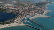 Saintes-Maries-De-La-Mer  - Aerial View - Provence-Alpes-Côte d'Azur, Bouches-du-Rhône, Arrondissement d'Arles, France video