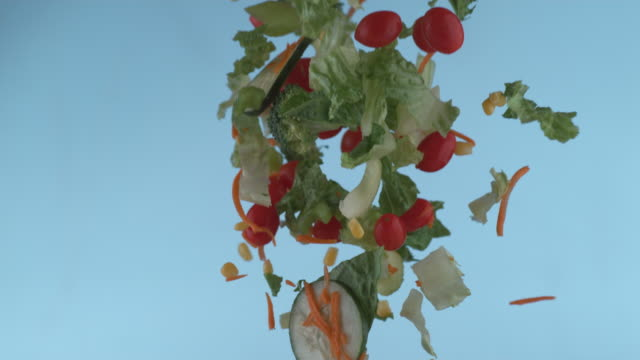Salad flying in slow motion video