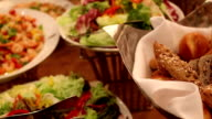 HD : Salad Food and bread waiting for wedding ceremony video