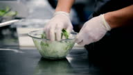 Salad mixed by hand. video