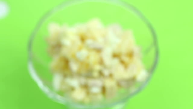 Salad of eggs, orange, chicken, cheese, standing video